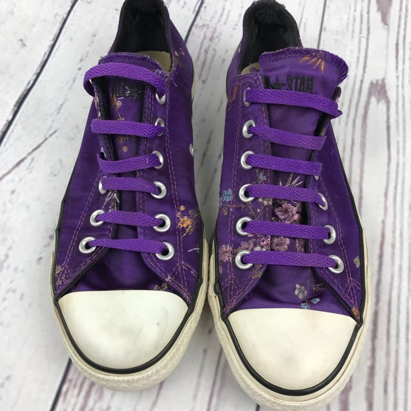 3000b88b33b4d0 Converse Shoes - Purple Satin Embroidered Converse All Stars sz 8